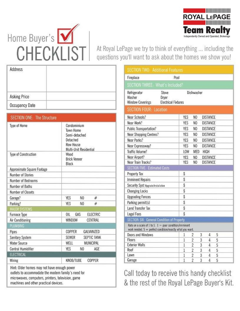 Checklist for home buyers for New home selections checklist