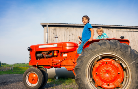 Children on a Farm Tractor